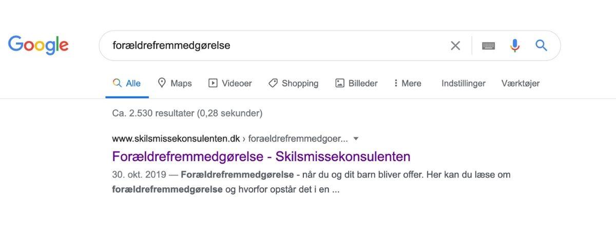 google forældrefremmedgørelse